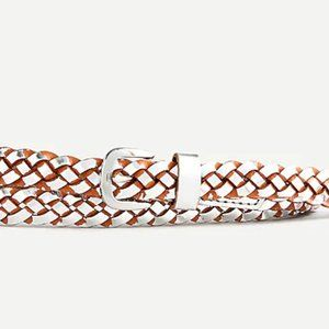NWT🤎J. Crew Skinny Woven Leather Belt in Metallic
